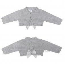 MC328AGREY: Baby Grey Bolero Cardigan With Bow (0-9 Months)