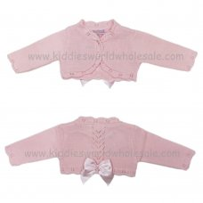 MC328APINK: Baby Pink Bolero Cardigan With Bow (0-9 Months)