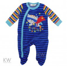 N15306: Baby Boys Super Tiger Velour All In One (0-9 Months)