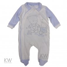 N15311: Baby Boys Little Play Bears Velour All In One (0-9 Months)