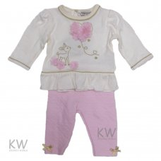 N15314: Baby Girls Flowers Top & Heart Quilted Pant Set (0-9 Months)