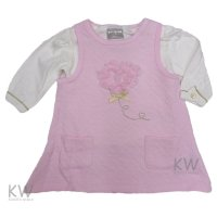 N15316: Baby Girls Heart Quilted Dress & Top Set (0-9 Months)