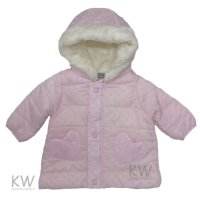 N15426: Baby Girls Flock Print Fur Lined Coat (6-24 Months)