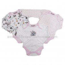 N15458: Baby Girls Fairytale 3 Pack Bodysuits (0-9 Months)
