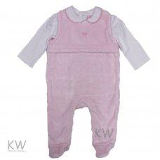 N15496: Baby Girls Top & Embossed, Plush Fleece Dungaree Set (0-9 Months)