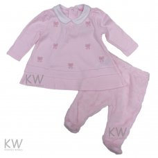 N15497: Baby Girls Embroidered Top & Plush Fleece Trouser Set (0-9 Months)