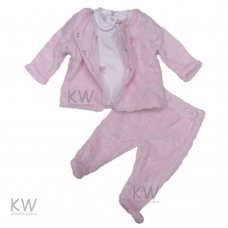 N15499: Baby Girls 3 Piece Plush Fleece Jacket Set (0-9 Months)