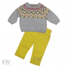 N15801: Infant Boys Grey Knitted Jumper & Twill Pant Set (2-7 Years)