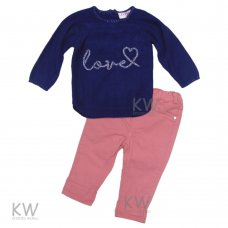 """N15569: Baby Girls """"Love"""" Knitted Top & Stretch Twill Pant Set (6-24 Months)"""