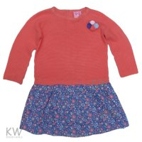N15578: Girls Mock Knitted Top & Woven Skirt Dress With Pom Poms (2-7 Years)