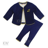 N15624: Baby Girls Gold Trim Fleece Jacket, Top & Legging Set (0-9 Months)