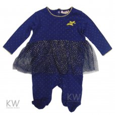 N15625: Baby Girls Gold Sequins All In One With Mock Tutu (0-3 Months)