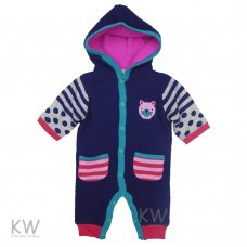 N15696: Baby Girls Fleece Lined Knitted Cotton All In One (0-9 Months)