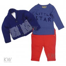 N15822: Boys Fur Lined Cardigan, Top & Chino Pant Outfit (2-5 Years)