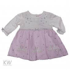 M15722: Baby Girls Swan Cotton Lined Cord Dress (3-24 Months)