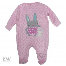N15756: Baby Girls Bunny Dimple Velour All In One (0-9 Months)