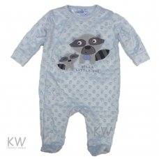 N15762: Baby Boys Racoon Dimple Velour All In One (0-9 Months)
