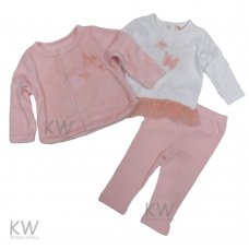 N15766: Baby Girls Velour Jacket, Top & Legging Set (0-9 Months)