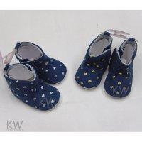 N15791: Baby Girls Heart Print Boots (0-12 Months)