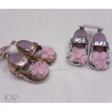 N15797: Baby Girls All Over Stars, Flower Shoes (0-12 Months)