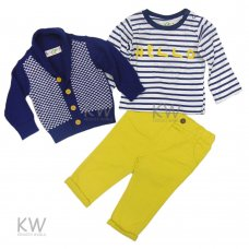 N15800: Infant Boys 3 Piece Cardigan, Top & Chino Pant Set (2-5 Years)