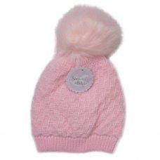 N15804: Baby Girls Waffle Knit Pom-Pom Hat (6-24 Months)