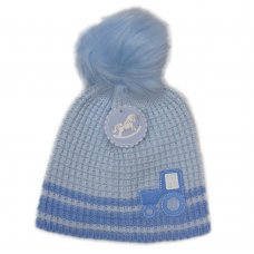 N15851: Baby Boys Tractor Pom-Pom Hat (6-24 Months)