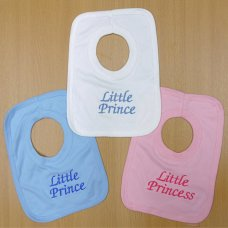 "BIB12: Baby Assorted Embroidered ""Little Prince/Princess"" Bibs"