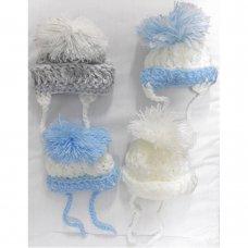 BOBNB: Baby Hand Knitted Pom Pom Hats (Newborn)