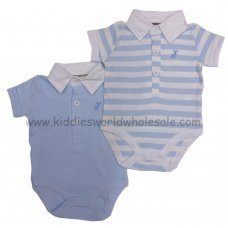 P16060: Baby Boys 2 Pack Bodysuits With Stag Emb (0-12 Months)