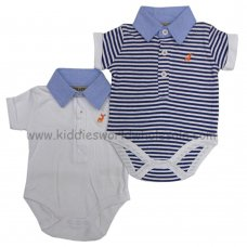 P16064: Baby Boys 2 Pack Bodysuits With Stag Emb (0-12 Months)