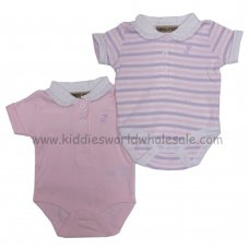 P16070: Baby Girls 2 Pack Bodysuits With Stag Emb (0-12 Months)