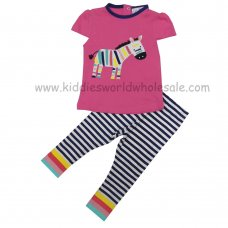 P16273: Baby Girls Embroidered Zebra T-Shirt & Stripe Legging Set (6-24 Months)
