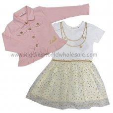 P16314: Girls Pink Jacket & Glitter Printed Mesh Skirt Dress (2-7 Years)