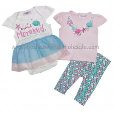 P16331: Baby Girls Mermaid 3 Piece Outfit (0-9 Months)