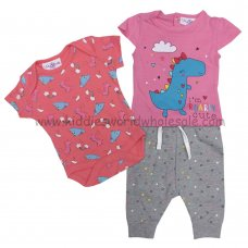 P16333: Baby Girls Dinosaur 3 Piece Outfit (0-9 Months)
