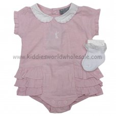 P16351: Baby Girls Pink Chambray Frilled Romper & Socks Set (0-9 Months)