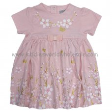 P16378: Baby Girls Floral With Glitter Print Dress (0-12 Months)