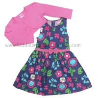 P16386: Girls Floral Woven Dress & Bolero Set (2-7 Years)