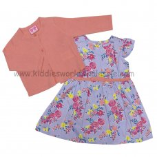 P16410: Baby Girls Floral Woven Dress & Knitted Cardigan Set (3-24 Months)