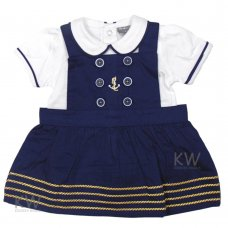 P16429: Baby Girls Nautical Dress & T-Shirt Set (0-9 Months)