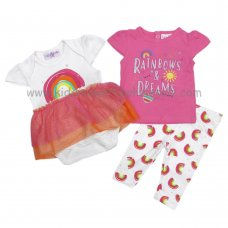 P16446: Baby Girls Rainbows 3 Piece Outfit (0-9 Months)