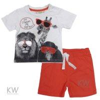 P16503: Baby Boys Printed Jungle T-Shirt &  Twill Short Set (6-24 Months)