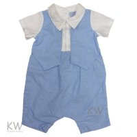 P16506: Baby Boys Romper With Mock Waistcoat (0-9 Months)