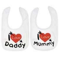 P3604: I Love Mummy/Daddy Velcro Bib