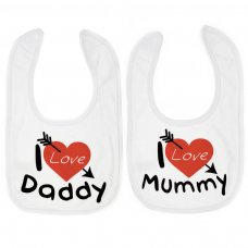 "P3604: ""I Love Mummy/Daddy"" Velcro Bib"