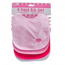 P5192-P: 4 Pack Velcro Bibs W/Emb & PEVA Back