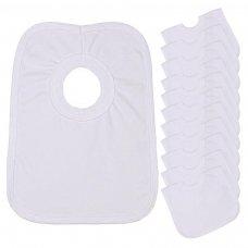 PB1: White Cotton Pop-On Bib
