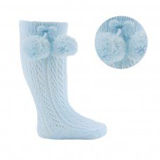 PS04-B: Blue Pelerine Knee-Length Socks w/Pom Pom (0-24 Months)