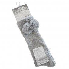PS04-G: Grey Pelerine Knee-Length Socks w/Pom Pom (0-24 Months)